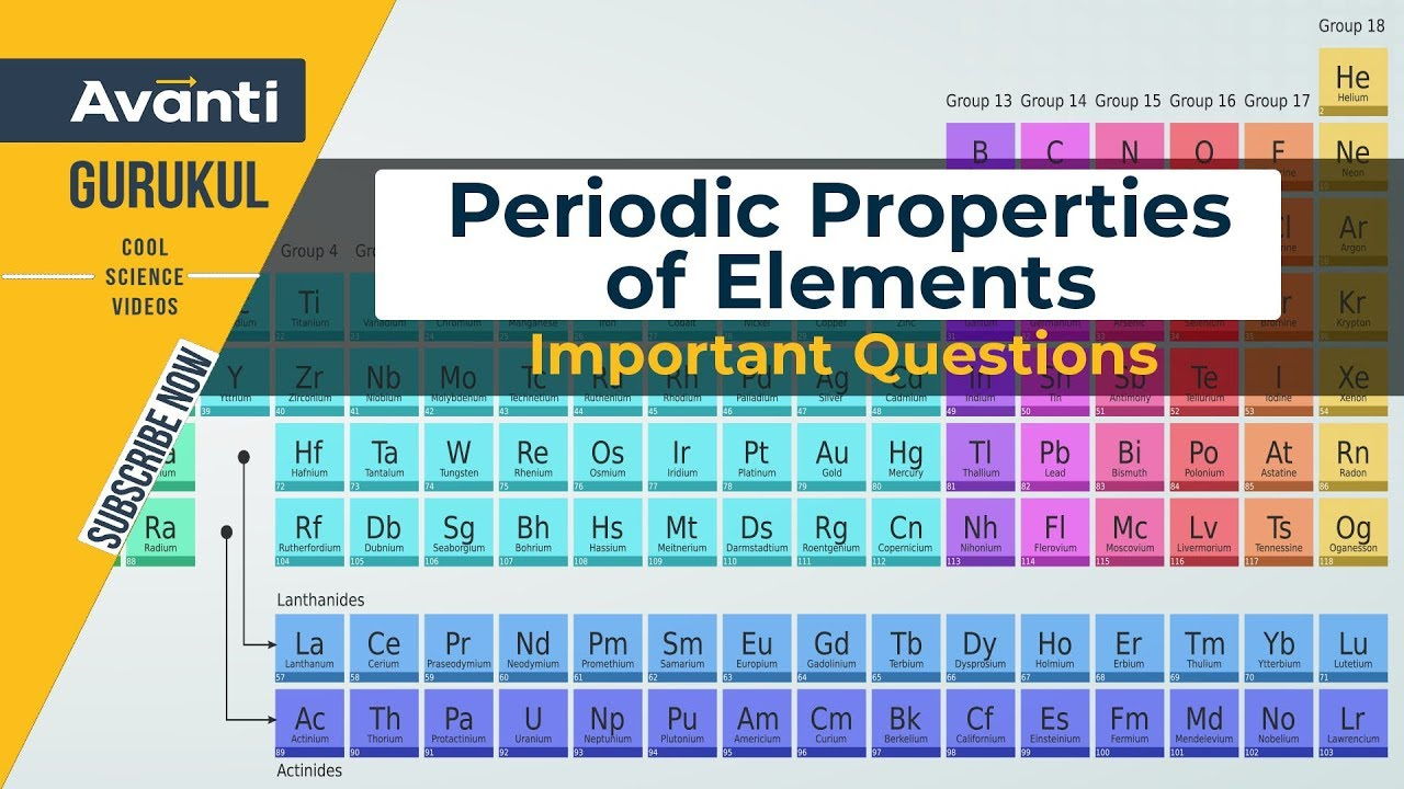 Periodic Properties of Elements | Important Questions JEE, NEET