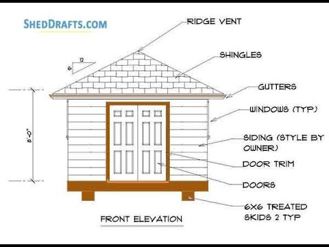 12x12 Hip Roof Storage Shed Plans Blueprints Youtube