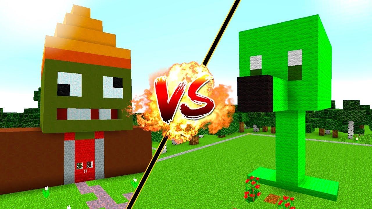 casa vs casa de plantas vs zombies en minecraft casa