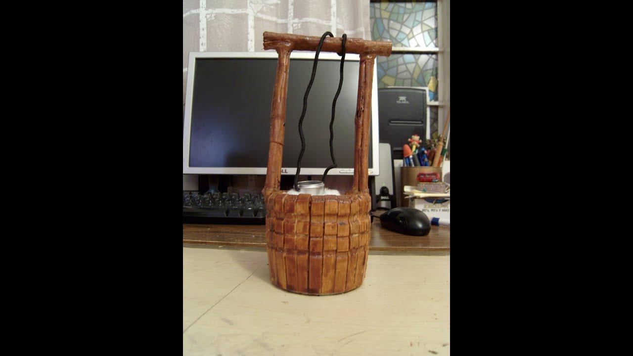 Como hacer un pozo miniatura con pinzas de madera 1 de 2 - Como cerrar un terreno con madera ...
