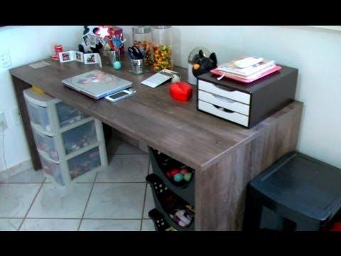 Tour pela minha mesa de escrit rio my office tour youtube - Protector de mesa escritorio ...