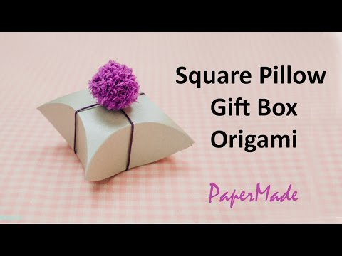 How to make Square Pillow Present / Gift box with Paper | Gift box Origami | DIY | PaperMade