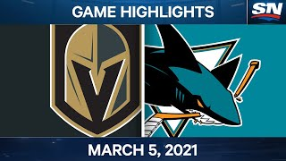 NHL Game Highlights | Golden Knights vs. Sharks - Mar. 5, 2021