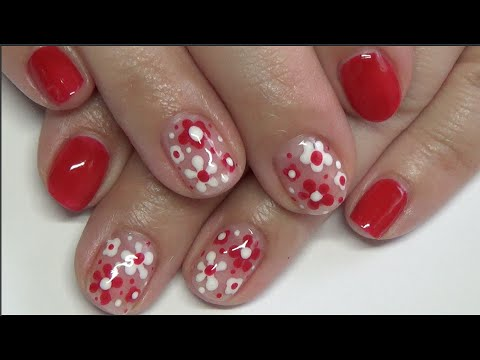 Red & White Flowers: Gel Polish Nail Design - Red & White Flowers: Gel Polish Nail Design - YouTube