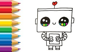 How to Draw Robot | Coloring and Drawing for Children | Robot Coloring Pages for Kids