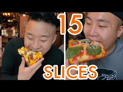 BEST CHEAP PIZZA in NYC!  WE EAT 15 SLICES