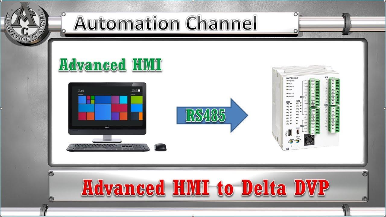 Advanced HMI to Delta DVP PLC - Modbus RTU - RS485 - English