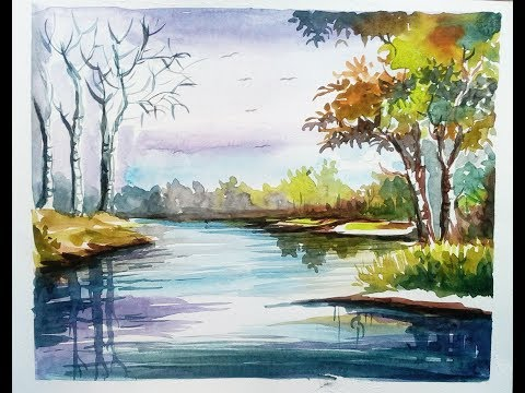 Simple watercolor landscape painting for beginners (easy work)