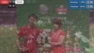 前半11分 浦和1-0上海上港】 左CK、柏木の左足で入れたボール、...