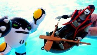 Бен 10 в видео с игрушками. Бен Тен и Хекс в аквапарке!