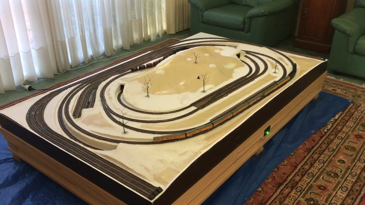 N Scale Coffee Table Train Layout Pt 5 - YouTube