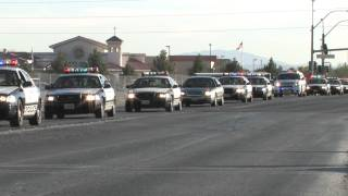 200 Police Cars In Las Vegas Driving Code 3 In Funeral Procession