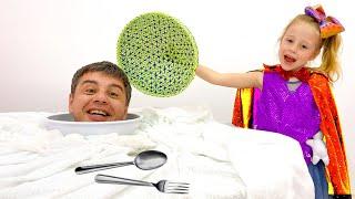 Nastya dan ayah menunjukkan trik untuk anak-anak