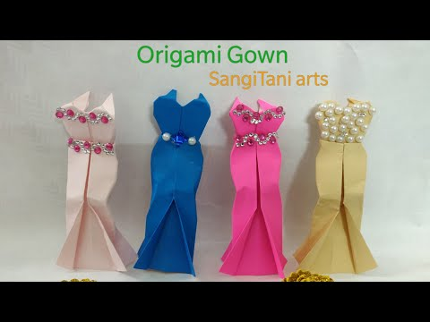 How to make easy Barbie dress (no glue) | #Origami paper gown | Easy paper #dress for doll | #diy