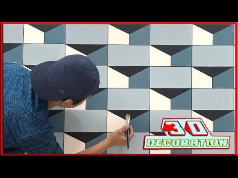3D wall painting    How to make 3D wall design    3d wall decoration effect    interior design