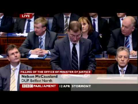 Nelson McCausland speaks after Justice Minister's appointment