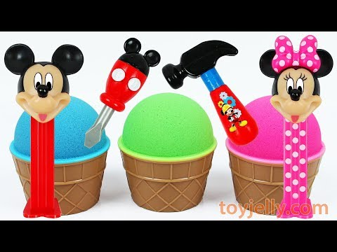 Super Kinder joy Kinetic Sand Ice Cream Surprise Toy Disney Mickey Mouse Tools Learn Colors for Baby