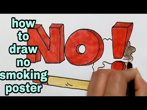 how to draw no smoking poster - YouTube