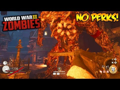 NO  PERKS, NO PACKAPUNCH, NO REVIVE EASTER EGG CHALLENGE! (Call of Duty WW2 Zombies)
