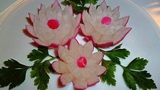 Цветы из редиса! Flowers of radish! Украшения из овощей! Decoration of vegetables!