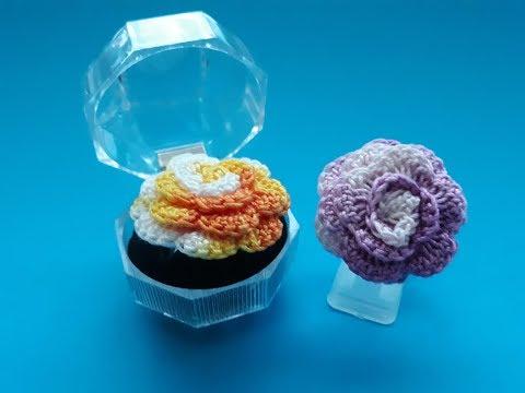 3D crochet ROSE FLOWER RING – JEWELRY – Video tutorial