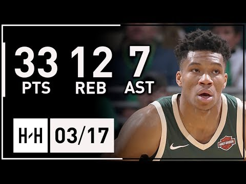 Giannis Antetokounmpo Full Highlights Bucks vs Hawks (2018.03.17) - 33 Pts, 12 Reb, 7 Ast, SICK!