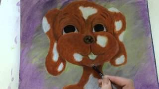 Lapso de tiempo de la Pintura Acrílica de Perro de dibujos animados