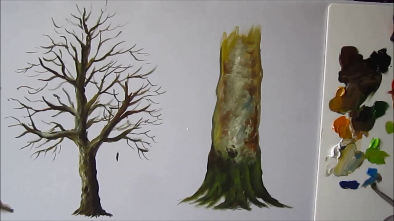 how to paint a tree trunk lesson 3 youtube