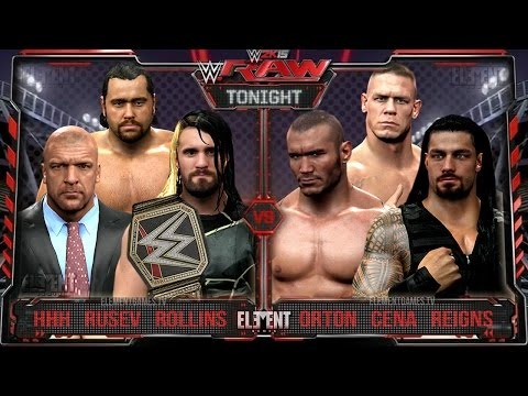 WWE RAW 2K15 : John Cena, Randy Orton & Roman Reigns vs Triple H, Seth Rollins & Rusev - 04/06/15