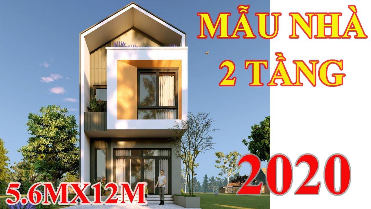 Mẫu nhà 2 tầng hiện đại .Đẹp nhất năm 2020 kích thước 5,6mx12m