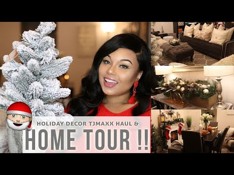 HOME TOUR !! LIVING ROOM & DINING ROOM + TJMAXX HOLIDAY DECOR HAUL