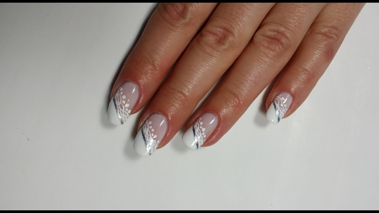 lace french manicure wedding nails