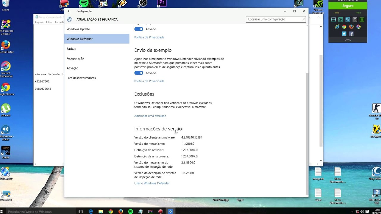 Solved / FIXED - Windows 10 Defender Update ERROR - KB2267602 Error 0x80070643