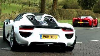 140+ Supercars leaving a show in the wet! - P1, LaFerrari, 918, Veyron SS WRE, 3 Koenigseggs...