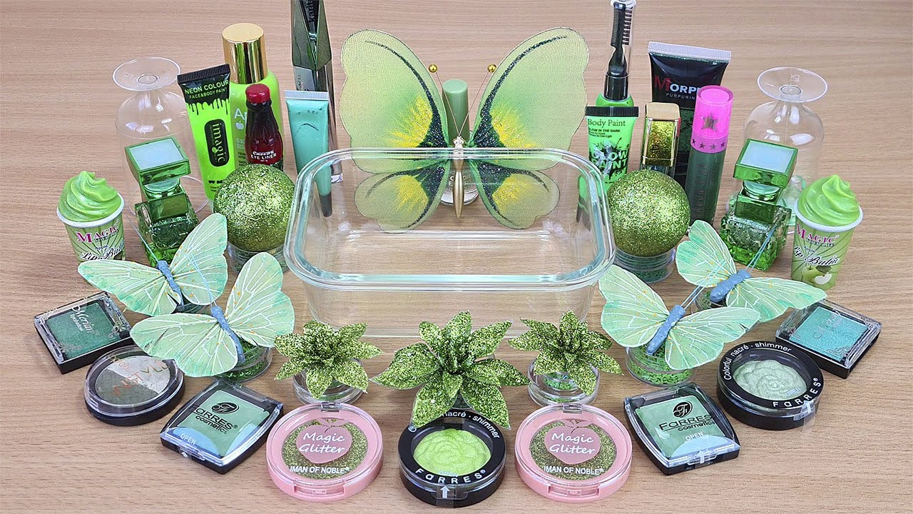 Green BUTTERFLY SLIME Mixing makeup and glitter into Clear Slime Satisfying Slime Videos