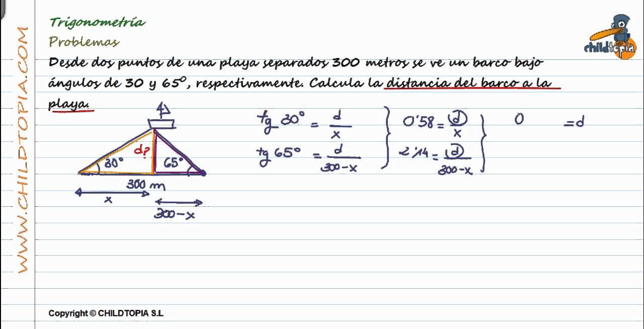 Trigonometría: Problemas. 4º de ESO matemáticas