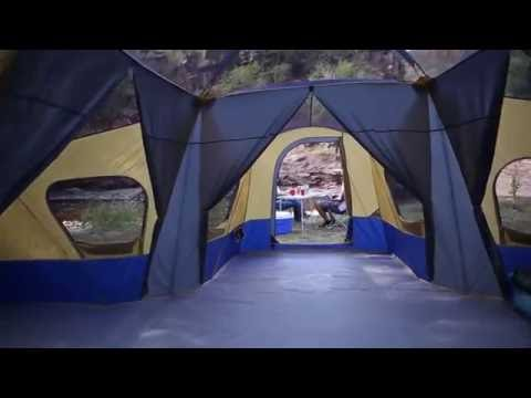 Ozark Trail Base C& 14 Person Cabin Tent 3 Room Family C&ing Easy assembly - YouTube & Ozark Trail Base Camp 14 Person Cabin Tent 3 Room Family Camping ...