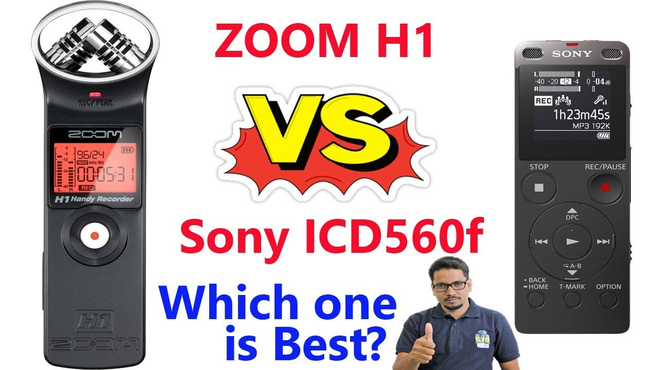 Zoom H1 Vs Sony Icd Ux560f In Hindi Youtube Digital Voice Recorder With Usb Black