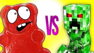- МАЙНКРАФТ VS ЖЕЛЕЙНЫЙ МЕДВЕДЬ ВАЛЕРА СУПЕР РЭП БИТВА Minecraft Creeper VS Gummy Bear Познаватель