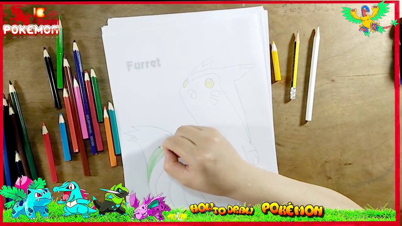 How To Draw Furret Pokemon Potato ChipsColoring Pages Crisps Set Drawings And Art Colours For Kids