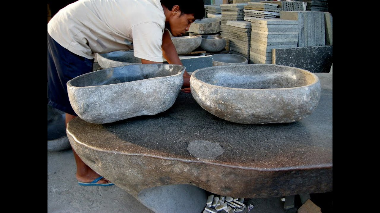 Stone Bowl Basin : Solid Stone Sink - YouTube