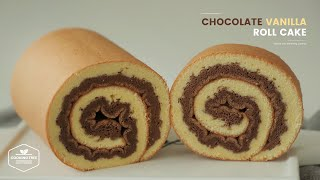초코 바닐라 스위스 롤케이크 만들기 : Chocolate Vanilla Swiss Roll Cake Recipe | Cooking tree