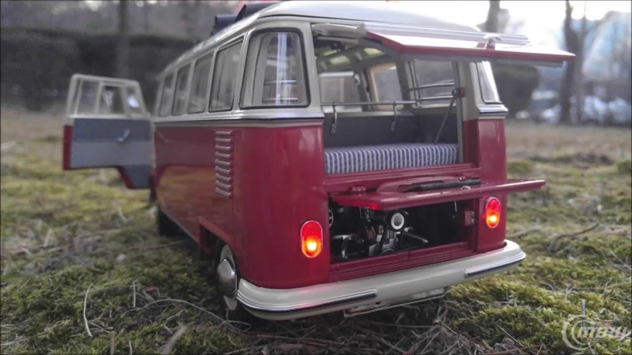 schuco 1 18 vw t1 samba bus led sound tuning by mbw youtube. Black Bedroom Furniture Sets. Home Design Ideas