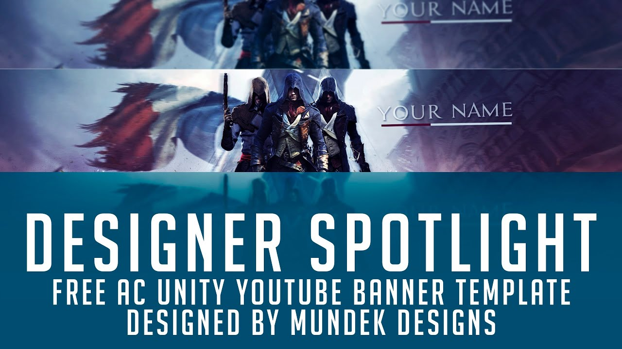 Free Assassins Creed Unity Youtube Banner Template 2d