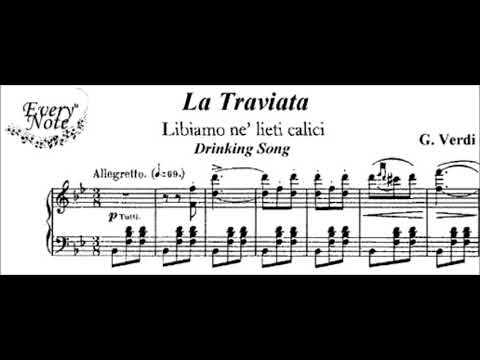 Giuseppe Verdi La Traviata Brindisi Karaoke for Tenor with soprano voice and chorus