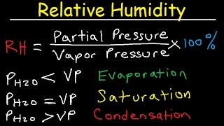 Relative Humidity, Dew Point, Vapor & Partial Pressure, Evaporation, Condensation - Physics
