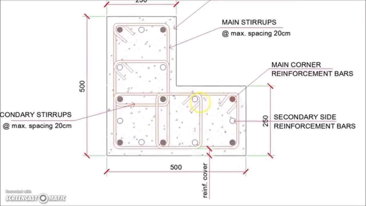 L Shaped Corner Column Reinforcement Details Youtube
