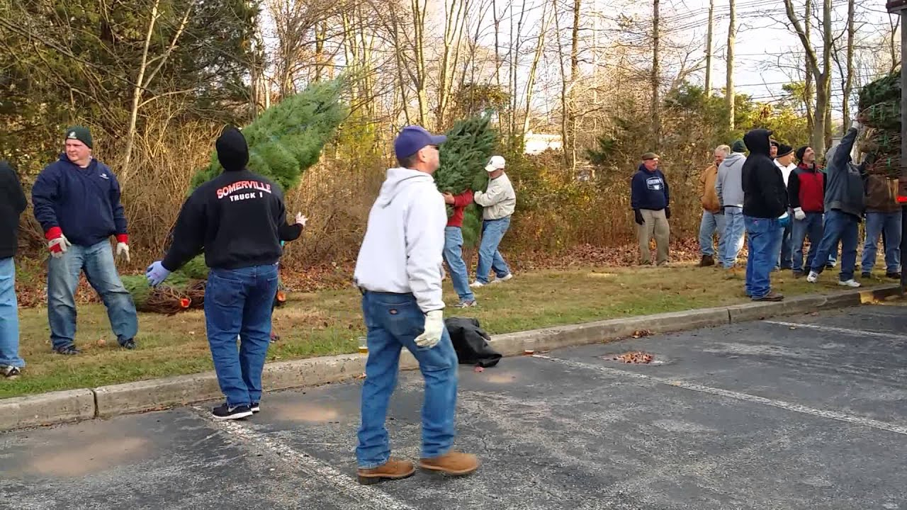 Somerville Elks Unloading Christmas Trees