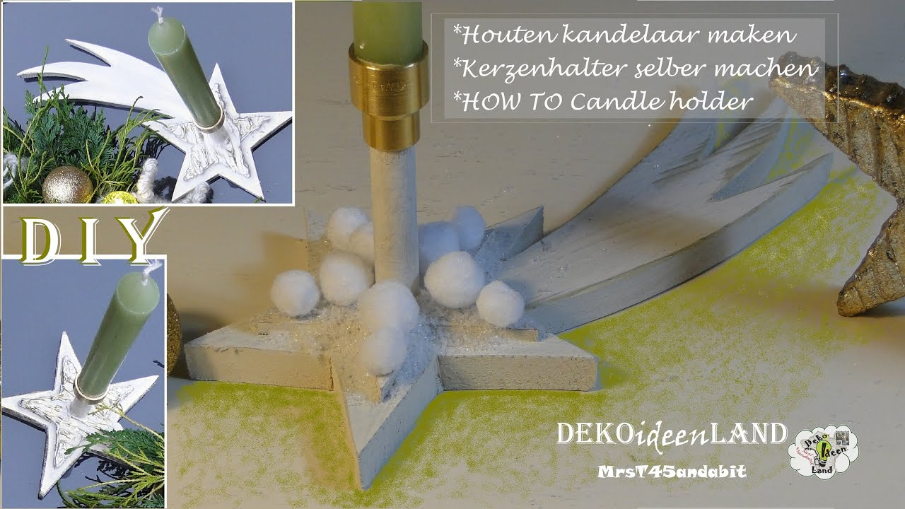 diy weihnachtsdeko i kerzenst nder holz selber machen i kandelaar hout i candle holder. Black Bedroom Furniture Sets. Home Design Ideas