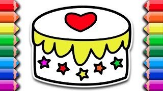 How to draw delicious cake with heart and stars | Awesome coloring pages for kids